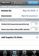 7. PathX Supply Ordering Screen
